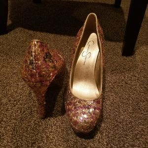 Multi colored sequins heels